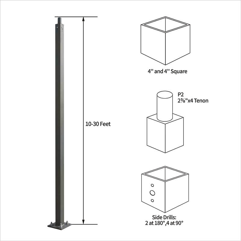 "Straight Square Steel Poles, 4"", 5"""